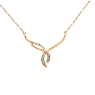 Collier Carador motif fantaisie en or jaune 375/000 et diamants