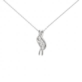 Collier Carador Trilogie diamant 0,03 cts et Or blanc 375/000