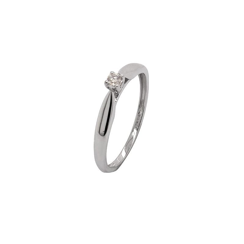 Bague Solitaire Carador or blanc 375/000 et diamant 0,05 cts
