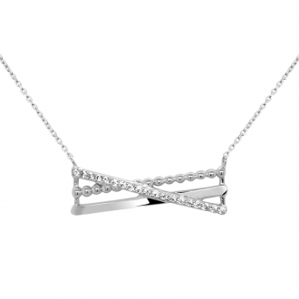 Collier Carador Illusion or blanc 375/000 et oxydes de zirconium