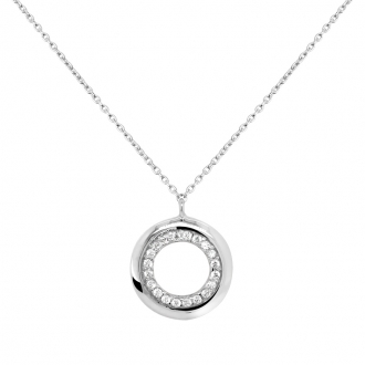 Collier Carador Sphère or blanc 375/000 et oxydes de zirconium