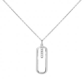 Collier Carador Tendance Or blanc 375/000 et oxydes de zirconium