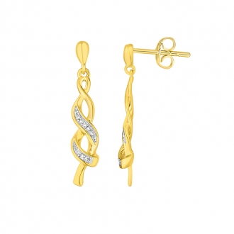 Boucles d'oreilles pendantes Carador tresses or jaune 375/000 et diamants