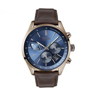 Montre Hugo Boss Grand Prix en cuir marron, cadran bleu nuit 1513604