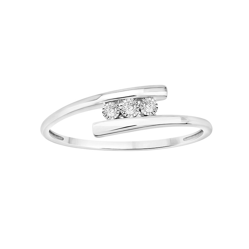 Bague Carador trilogie or blanc 375/000 et diamants 0,03 cts