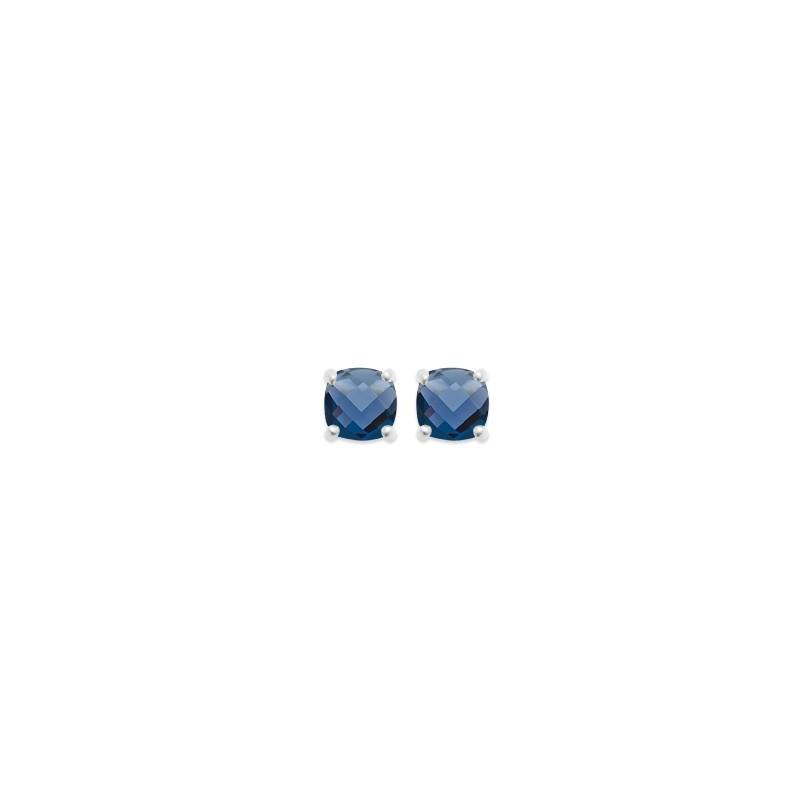 Boucles d'oreilles clous Carador argent 925/000 et pierre facettée teintée saphir