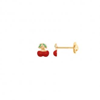 Boucles d'oreilles Carador cerise laque rouge en or jaune 375/000