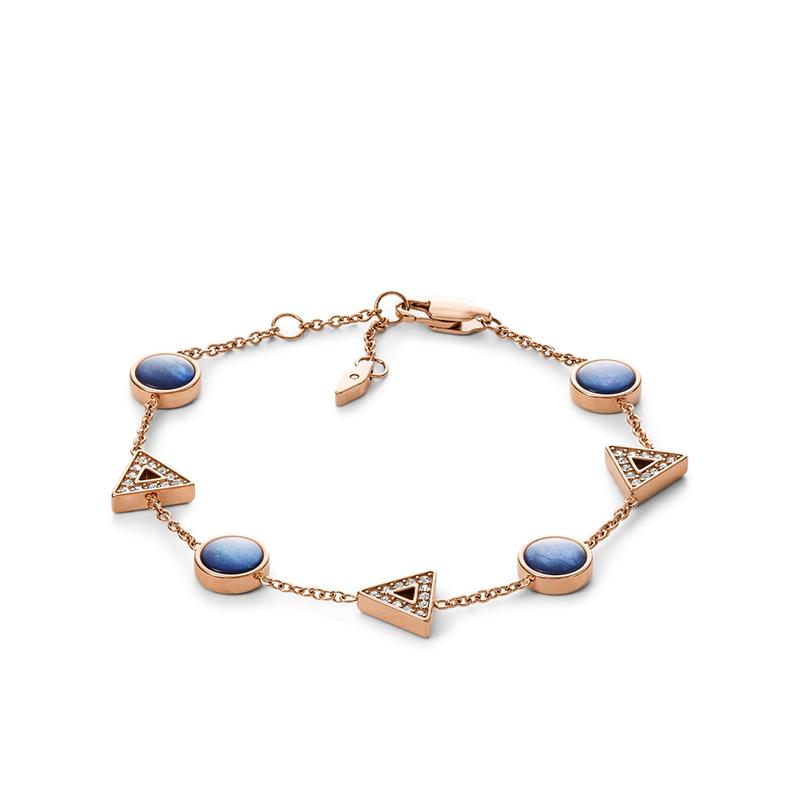 Bracelet Fossil Géométriques acier doré rose JF03012791