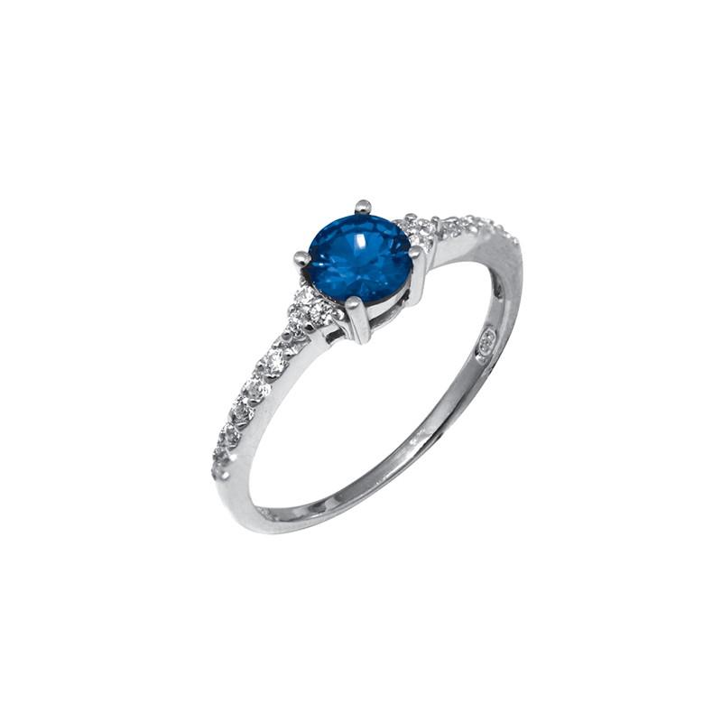 Bague Carador solitaire fantaisie argent 925/000, oxydes de zirconium et pierre bleue