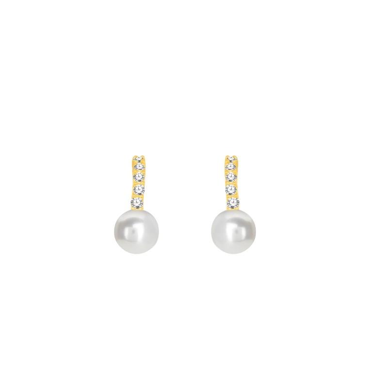 Boucles d'oreilles Carador or 375/000 oxyde et perle PE0108