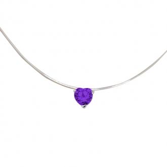 Collier Carador fantaisie souple Oxyde de zirconium violet