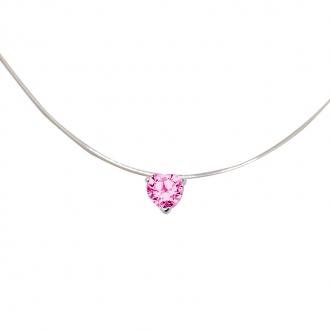 Collier Carador fantaisie souple Oxyde de zirconium coeur couleur rose