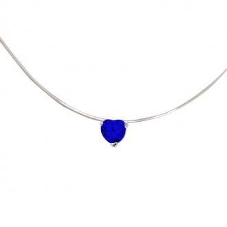 Collier Carador fantaisie souple Oxyde de zirconium coeur couleur bleue