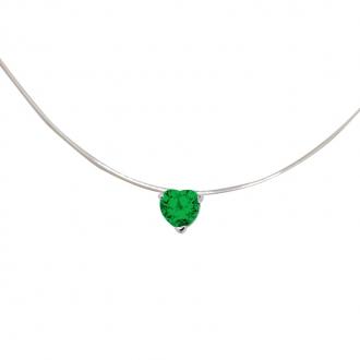 Collier Carador fantaisie souple Oxyde de zirconium coeur couleur verte
