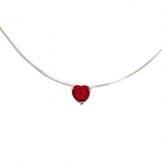 Collier Carador fantaisie souple Oxyde de zirconium coeur couleur rouge