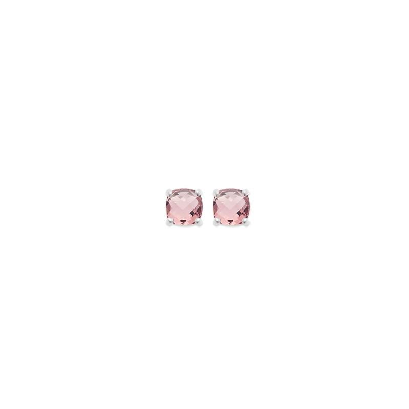 Boucles d'oreilles clous Carador argent 925/000 et pierre facettée teintée Tourmaline