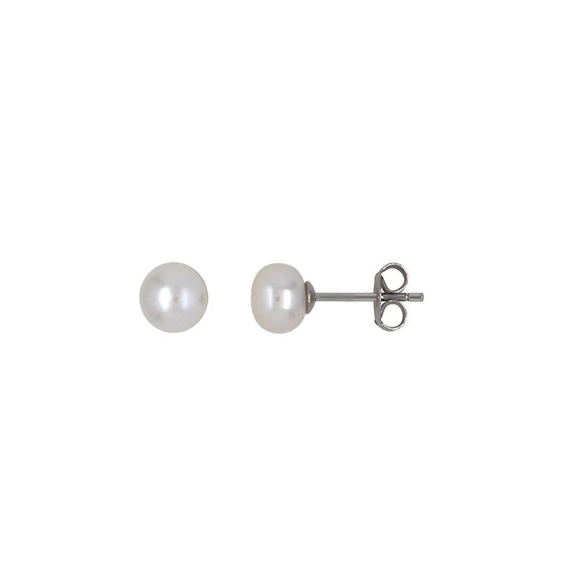 Boucles d'oreilles Carador argent 925/000 et perle 6 mm