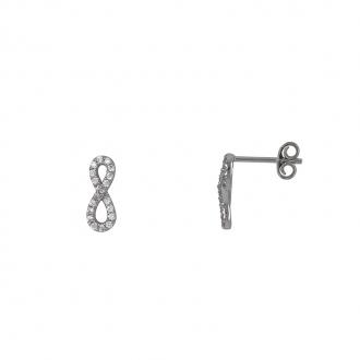 Boucles d'oreilles puce Carador motif infini empierré d'oxydes de zirconium en argent 925/000