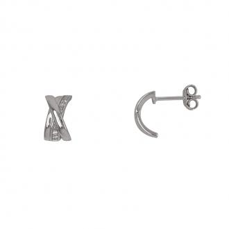 Boucles d'oreilles Carador demi-créole argent 925/000 et oxydes de zirconium