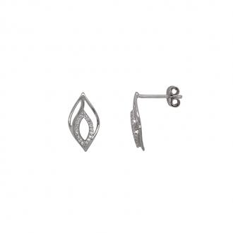Boucles d'oreilles Carador double pétales or blanc 375/000 et oxydes de zirconium