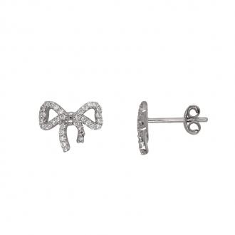Boucles d'oreilles Carador noeud or blanc 375/000 et oxydes de zirconium