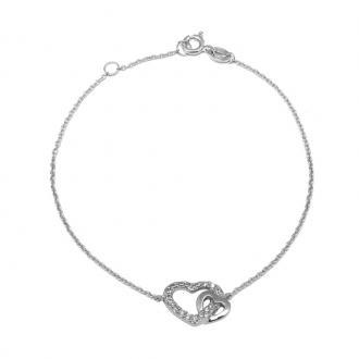 Bracelet Femme Carador duo cœurs enlacés argent 925/000 et oxyde de zirconium