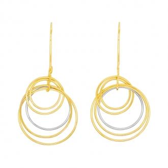 Boucle d'oreille carador Or 375/000. Anneaux or jaune et or blanc