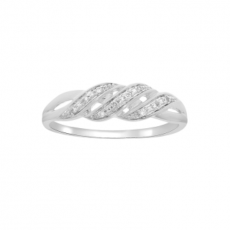 bague en or blanc diamant Carador or 375/000