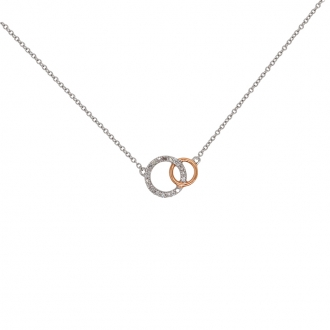 Collier ATELIER 17 doucle cercles bicolore or 375/000 et diamants