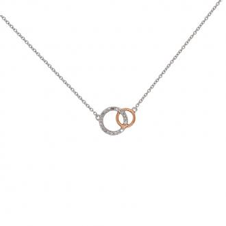 Collier ATELIER 17 doucle cercles bicolore or 375/000 et diamants
