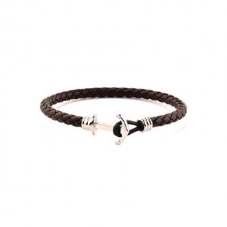 Bracelet Homme Carador MATELOT cuir tressé marron fermeture ancre