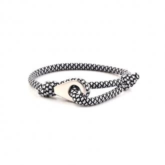 Bracelet Homme Carador MATELOT tissu noir et blanc