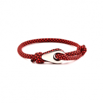 Bracelet Homme Carador MATELOT tissu noir et rouge