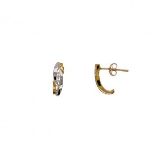 Boucle d'oreille clou Carador bicolore et trilogie diamant