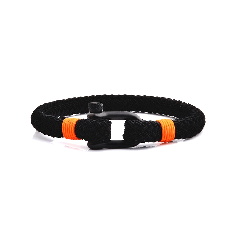 Bracelet Homme Carador MATELOT tissu noir et orange, fermoir manille