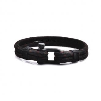 Bracelet Homme Carador MATELOT double cordage noir et marron, fermoir manille