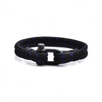 Bracelet Homme Carador MATELOT double cordage noir et bleu, fermoir manille