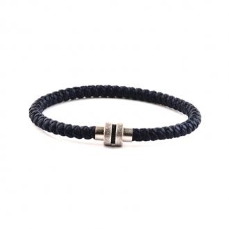 Bracelet Homme Carador cuir tressé bleu marine, fermoir magnétique