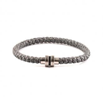 Bracelet Homme Carador cuir tressé gris, fermoir magnétique