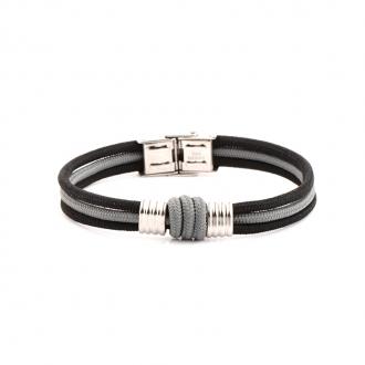 Bracelet Homme Carador triple cordage noir et gris