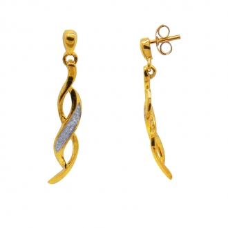 Boucles d'oreilles pendantes or bicolore 375/000 et diamants