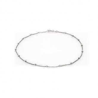 Chaine de cheville Carador maille vénitienne et perle argent 925/000