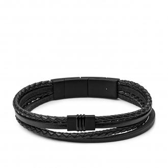 Bracelet FOSSIL multi-rangs en cuir noir