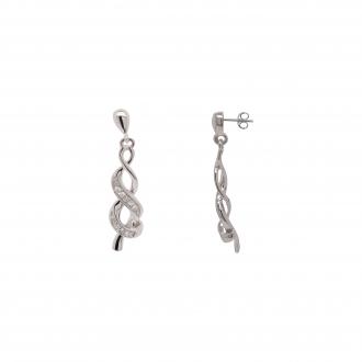 Boucles d'oreilles pendantes double or blanc 375/000 et diamant