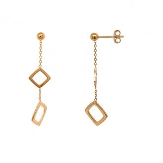 Boucles d'oreilles pendantes Carador Géométrie double carrés or 375/000