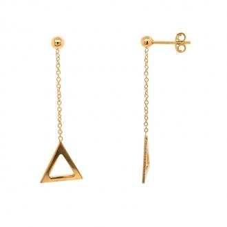 Boucles d'oreilles pendantes Carador Géométrie triangle or 375/000