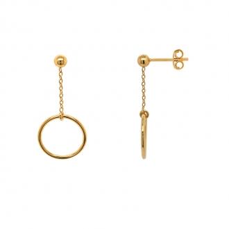 Boucles d'oreilles pendantes Carador Géométrie cercle or 375/000