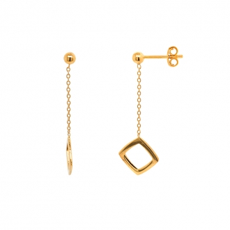 Boucles d'oreilles pendantes Carador Géométrie carré or 375/000