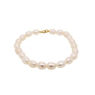 Bracelet de perles grain de riz 6 mm Carador en or 375/000
