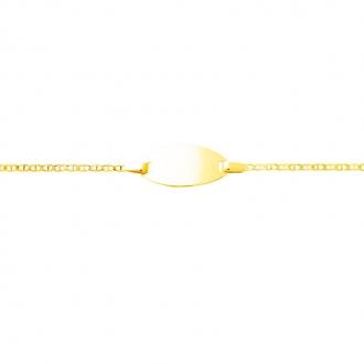 Carador - Gourmette bébé or jaune 375/000 maille baton plaque ovale